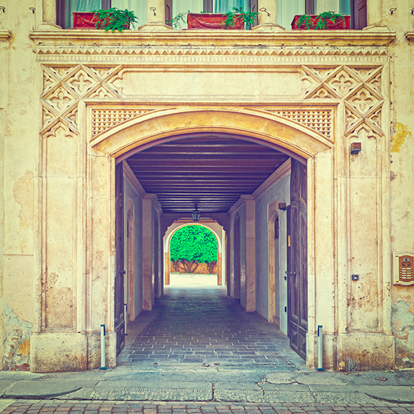 Balcony above the Gateway in the Italian City of Vicenza, Instagram Effect